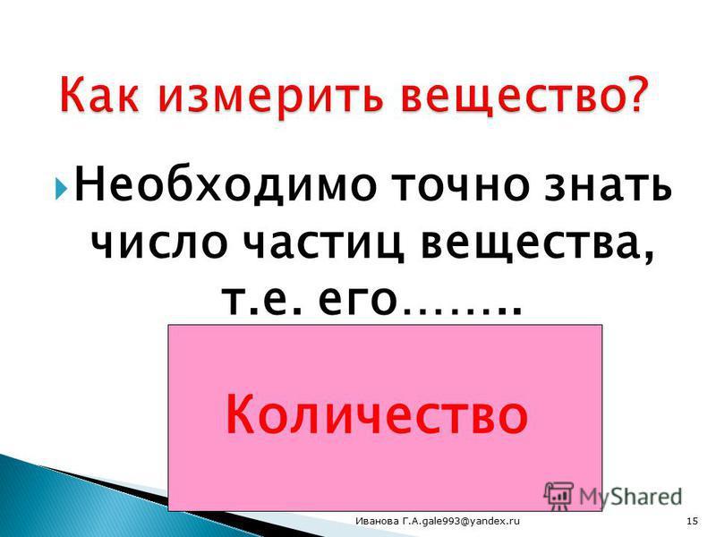 Необходимо точно знать число частиц вещества, т.е. его…….. Количество 15Иванова Г.А.gale993@yandex.ru
