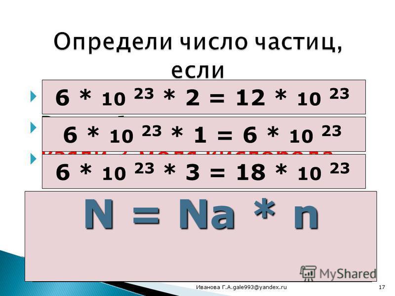 Взяли 2 моля воды Взяли 1 моль сахара Взяли 3 моля кислорода 6 * 10 23 * 2 = 12 * 10 23 6 * 10 23 * 1 = 6 * 10 23 6 * 10 23 * 3 = 18 * 10 23 Как определяли? N = Na * n 17Иванова Г.А.gale993@yandex.ru
