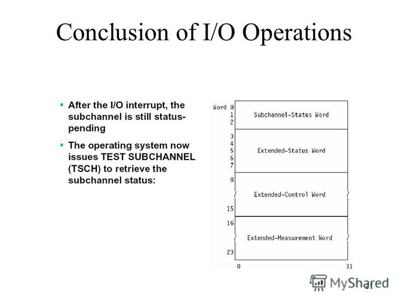 21 Conclusion of I/O Operations
