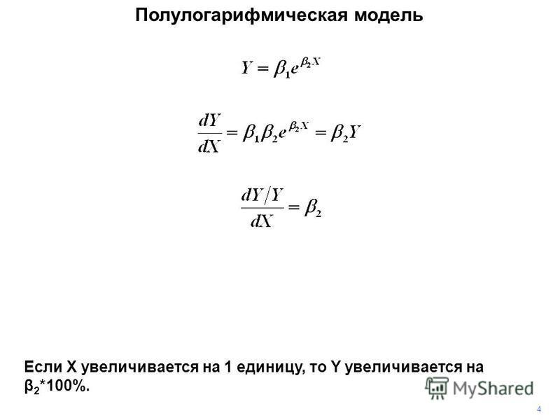 4 Если X увеличивается на 1 единицу, то Y увеличивается на β 2 *100%. Полулогарифмическая модель