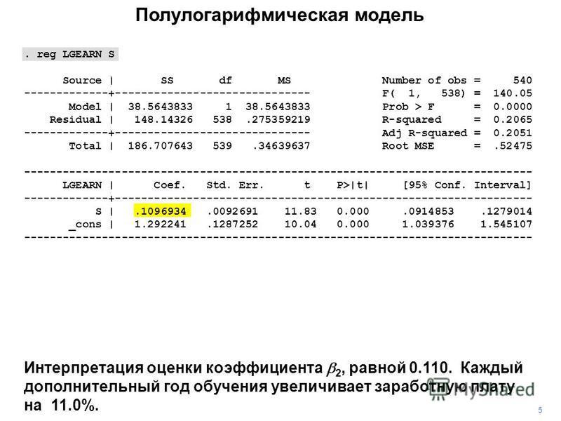 . reg LGEARN S Source   SS df MS Number of obs = 540 -------------+------------------------------ F( 1, 538) = 140.05 Model   38.5643833 1 38.5643833 Prob > F = 0.0000 Residual   148.14326 538.275359219 R-squared = 0.2065 -------------+--------------