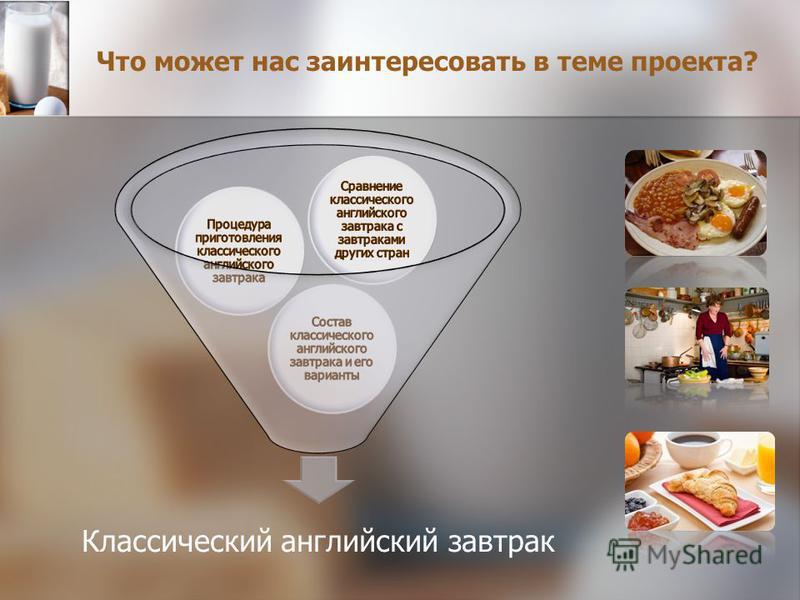 Что может нас заинтересовать в теме проекта? Классический английский завтрак