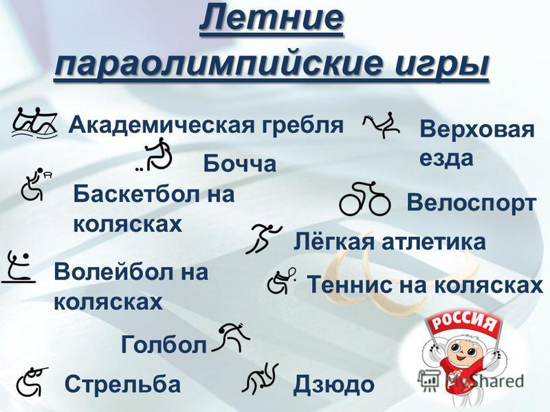 Летние параолимпийские игры Академическая гребля Баскетбол на колясках Бочча Велоспорт Верховая езда Волейбол на колясках Голбол Дзюдо Лёгкая атлетика Стрельба Теннис на колясках
