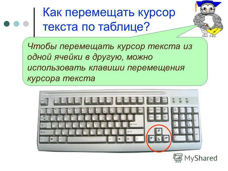 Как перемещать курсор текста по таблице? Чтобы перемещать курсор текста из одной ячейки в другую, можно использовать клавиши перемещения курсора текста