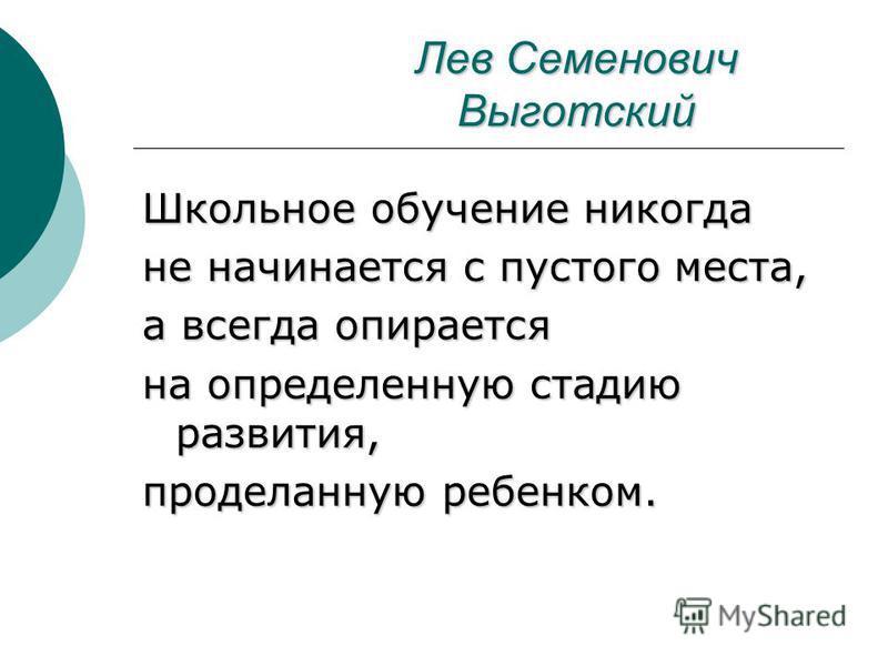 Лев Семенович Выготский Школьное обучение никогда не начинается с пустого места, а всегда опирается на определенную стадию развития, проделанную ребенком.