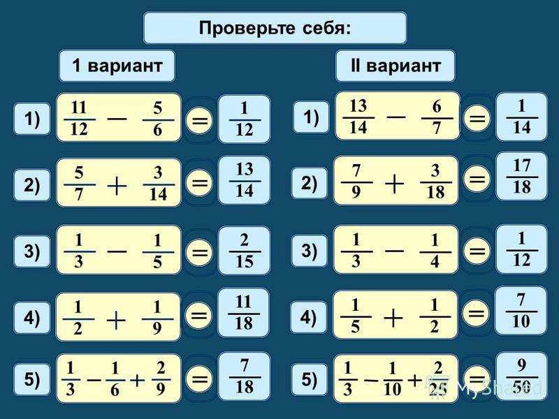 Математический диктант 11 12 5 6 1) 1 вариантII вариант = 1 12 2) 5 7 3 14 = 13 1414 1414 6 7 1) = 1 1414 2) 7 9 3 18 = 17 1818 3) 1 3 1 5 = 2 1515 1 3 1 4 3)3) = 1 1212 4) 1 2 1 9 = 11 1818 4)4) 1 5 1 2 = 7 10 5) 1 3 1 6 2 9 = 7 1818 1 3 1 10 2 25 =