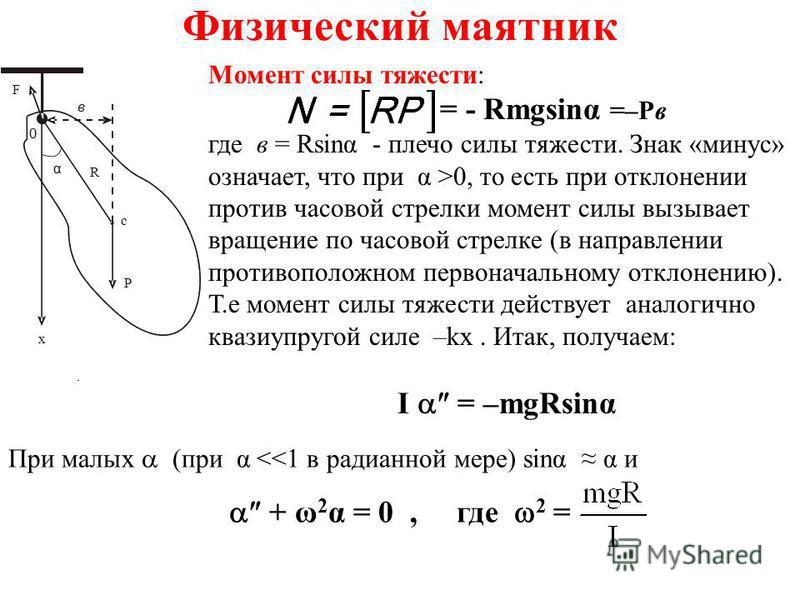 Физический маятник. x P F 0 в R c α Момент силы тяжести: = - Rmgsing =–Pв где в = Rsing - плечо силы тяжести. Знак «минус» означает, что при α >0, то есть при отклонении против часовой стрелки момент силы вызывает вращение по часовой стрелке (в напра