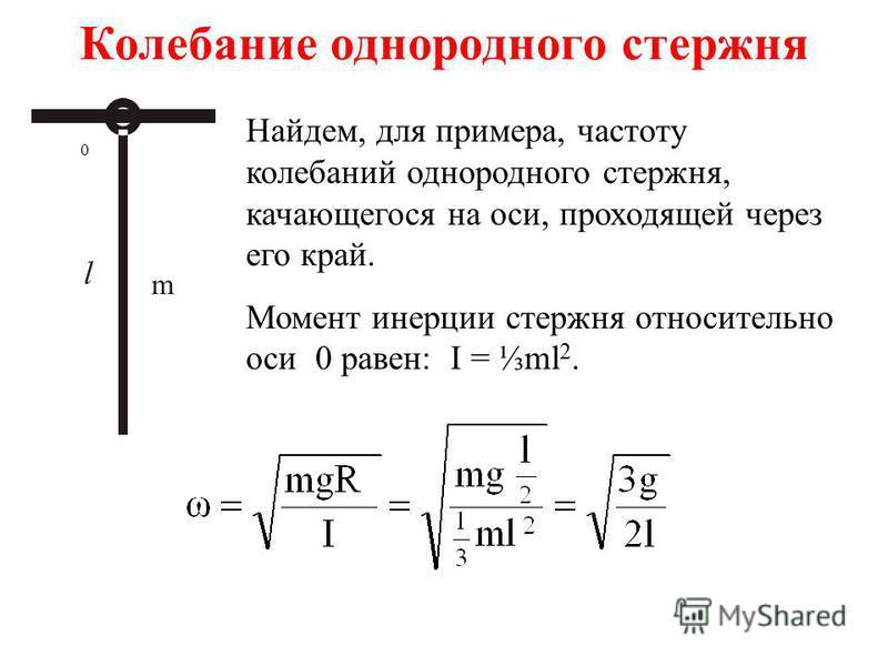 Колебание однородного стержня m 0 Найдем, для примера, частоту колебаний однородного стержня, качающегося на оси, проходящей через его край. Момент инерции стержня относительно оси 0 равен: I = ml 2.