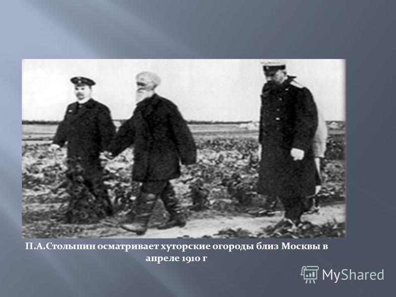 П.А.Столыпин осматривает хуторские огороды близ Москвы в апреле 1910 г