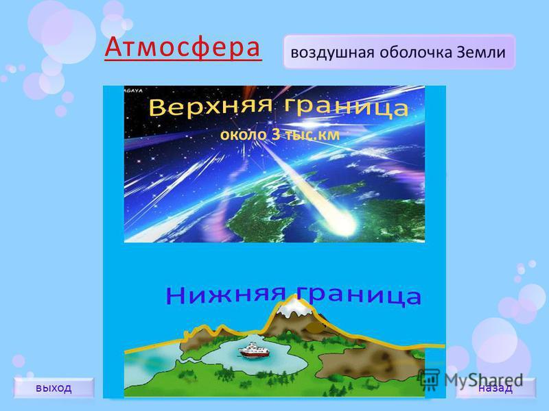 воздушная оболочка Земли около 3 тыс.км