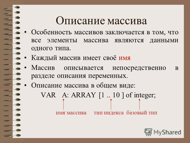 Описание массива Особенность массивов заключается в том, что все элементы массива являются данными одного типа. Каждый массив имеет своё имя Массив описывается непосредственно в разделе описания переменных. Описание массива в общем виде: VAR А: ARRAY