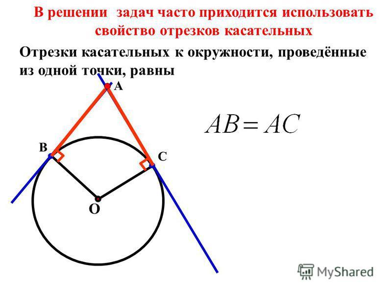 О С А В В решении задач часто приходится использовать свойство отрезков касательных Отрезки касательных к окружности, проведённые из одной точки, равны