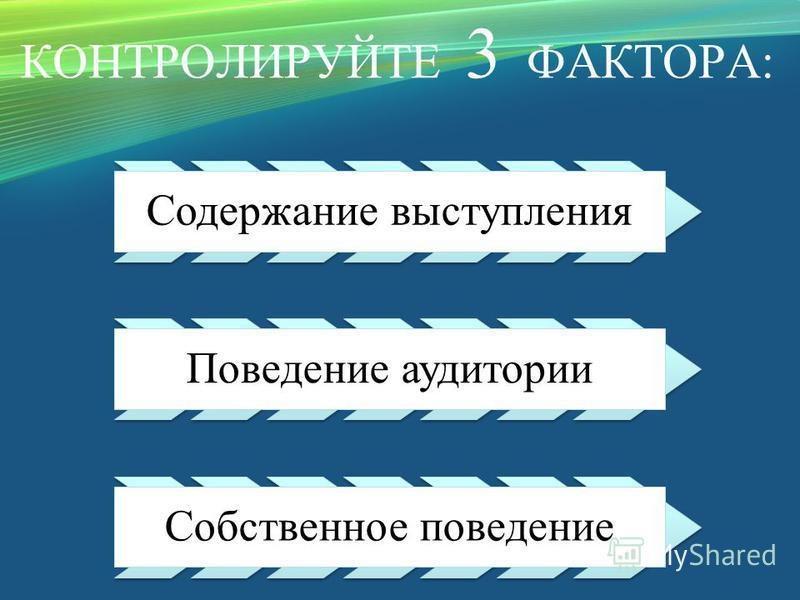 КОНТРОЛИРУЙТЕ 3 ФАКТОРА: Содержание выступления Поведение аудитории Собственное поведение