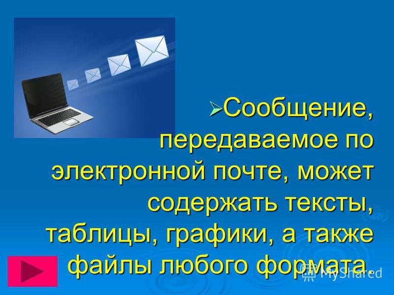 Сообщение, передаваемое по электронной почте, может содержать тексты, таблицы, графики, а также файлы любого формата. Сообщение, передаваемое по электронной почте, может содержать тексты, таблицы, графики, а также файлы любого формата.