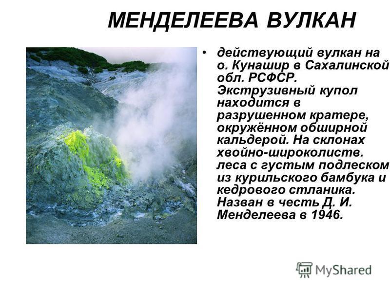 действующий вулкан на о. Кунашир в Сахалинской обл. РСФСР. Экструзивный купол находится в разрушенном кратере, окружённом обширной кальдерой. На склонах хвойно-широколиств. леса с густым подлеском из курильского бамбука и кедрового стланика. Назван в