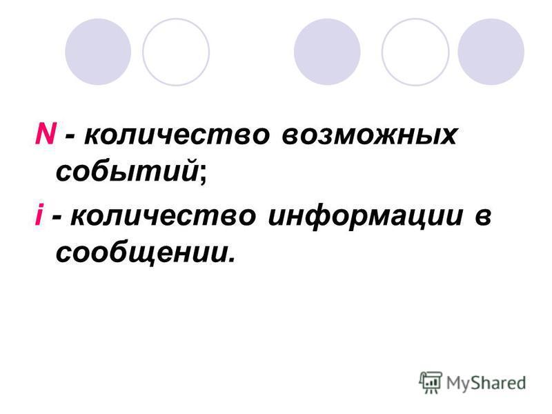 N - количество возможных событий; i - количество информации в сообщении.