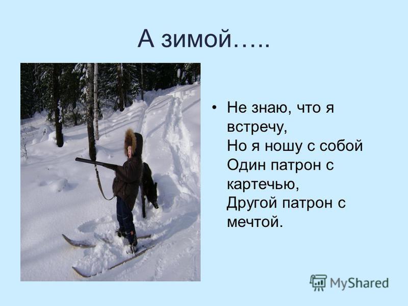 А зимой….. Не знаю, что я встречу, Но я ношу с собой Один патрон с картечью, Другой патрон с мечтой.