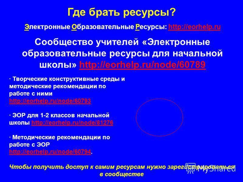 Где брать ресурсы? Электронные Образовательные Ресурсы: http://eorhelp.ruhttp://eorhelp.ru Сообщество учителей «Электронные образовательные ресурсы для начальной школы» http://eorhelp.ru/node/60789http://eorhelp.ru/node/60789 · Творческие конструктив