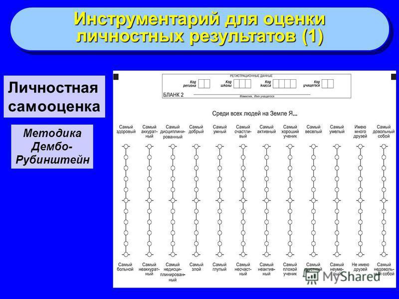 Личностная самооценка Методика Дембо- Рубинштейн Инструментарий для оценки личностных результатов (1) Инструментарий для оценки личностных результатов (1)