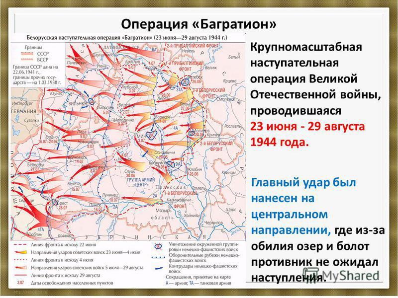 Операция «Багратион» Крупномасштабная наступательная операция Великой Отечественной войны, проводившаяся 23 июня - 29 августа 1944 года. Главный удар был нанесен на центральном направлении, где из-за обилия озер и болот противник не ожидал наступлени