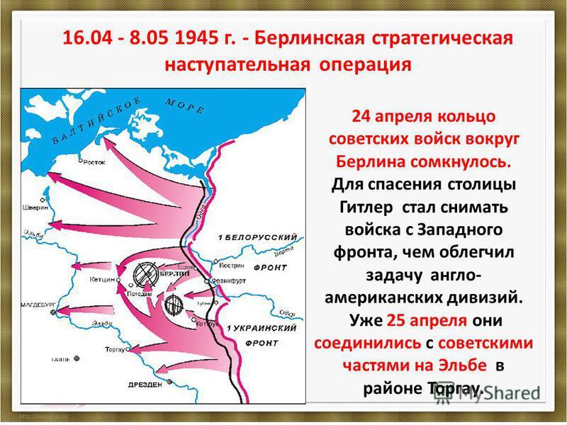 16.04 - 8.05 1945 г. - Берлинская стратегическая наступательная операция 24 апреля кольцо советских войск вокруг Берлина сомкнулось. Для спасения столицы Гитлер стал снимать войска с Западного фронта, чем облегчил задачу англо- американских дивизий.