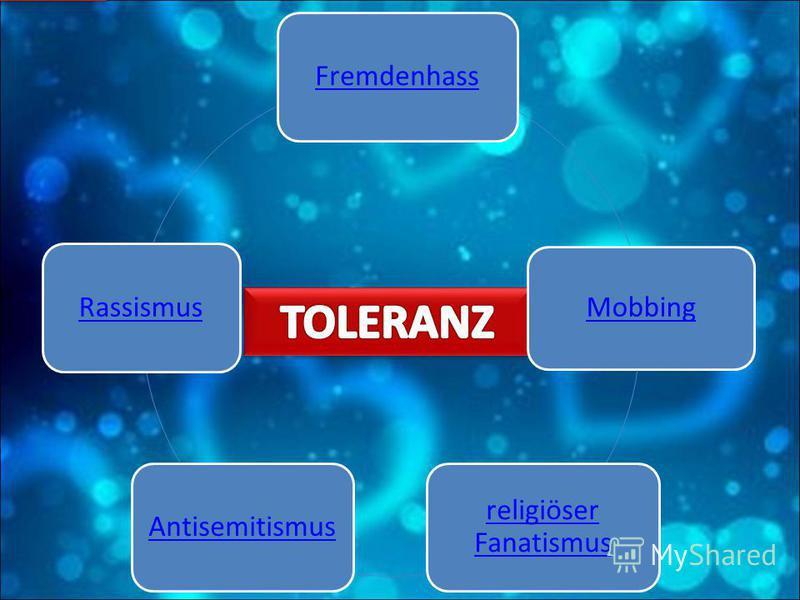 Fremdenhass Mobbing religiöser Fanatismus AntisemitismusRassismus