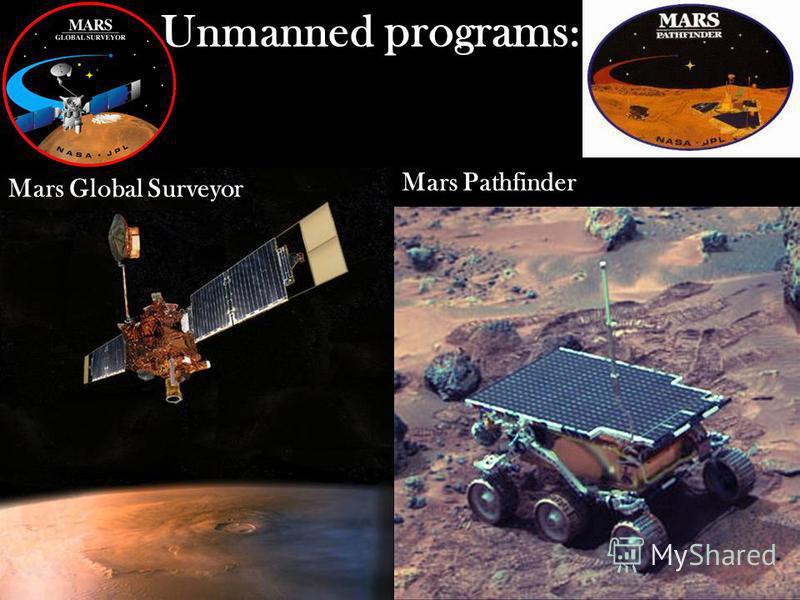 Unmanned programs : Mars Global Surveyor Mars Pathfinder