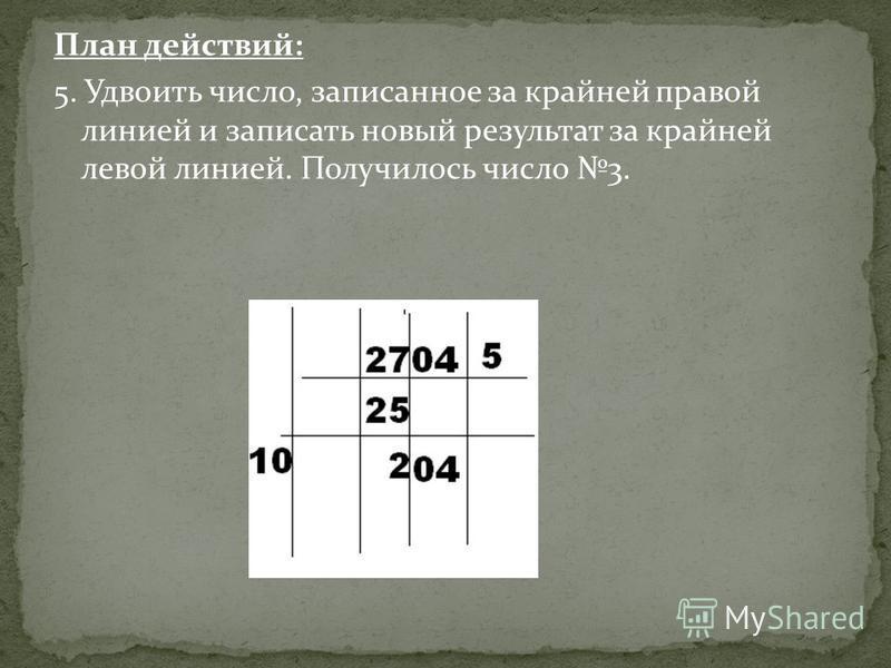 План действий: 5. Удвоить число, записанное за крайней правой линией и записать новый результат за крайней левой линией. Получилось число 3.