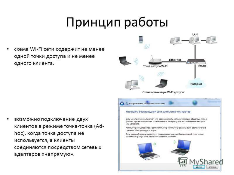Принцип работы схема Wi-Fi сети содержит не менее одной точки доступа и не менее одного клиента. возможно подключение двух клиентов в режиме точка-точка (Ad- hoc), когда точка доступа не используется, а клиенты соединяются посредством сетевых адаптер