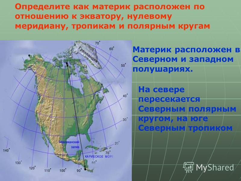 Определите как материк расположен по отношению к экватору, нулевому меридиану, тропикам и полярным кругам Материк расположен в Северном и западном полушариях. На севере пересекается Северным полярным кругом, на юге Северным тропиком