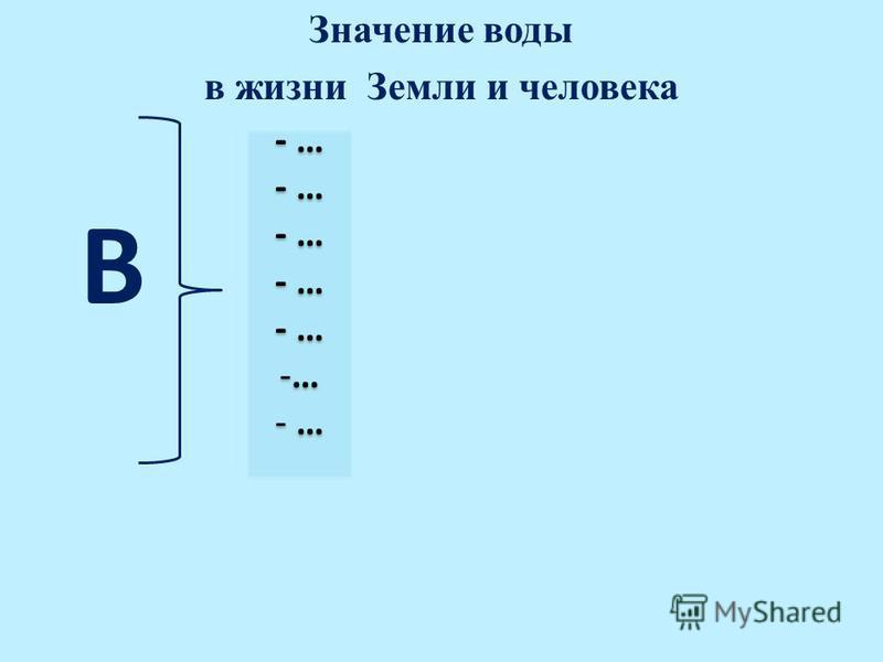 Значение воды в жизни Земли и человека В - …