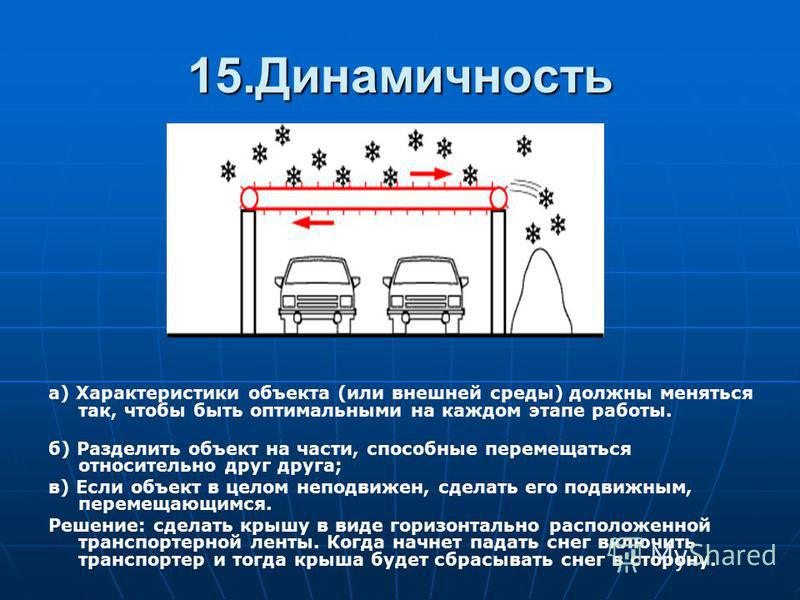 15. Динамичность а) Характеристики объекта (или внешней среды) должны меняться так, чтобы быть оптимальными на каждом этапе работы. б) Разделить объект на части, способные перемещаться относительно друг друга; в) Если объект в целом неподвижен, сдела
