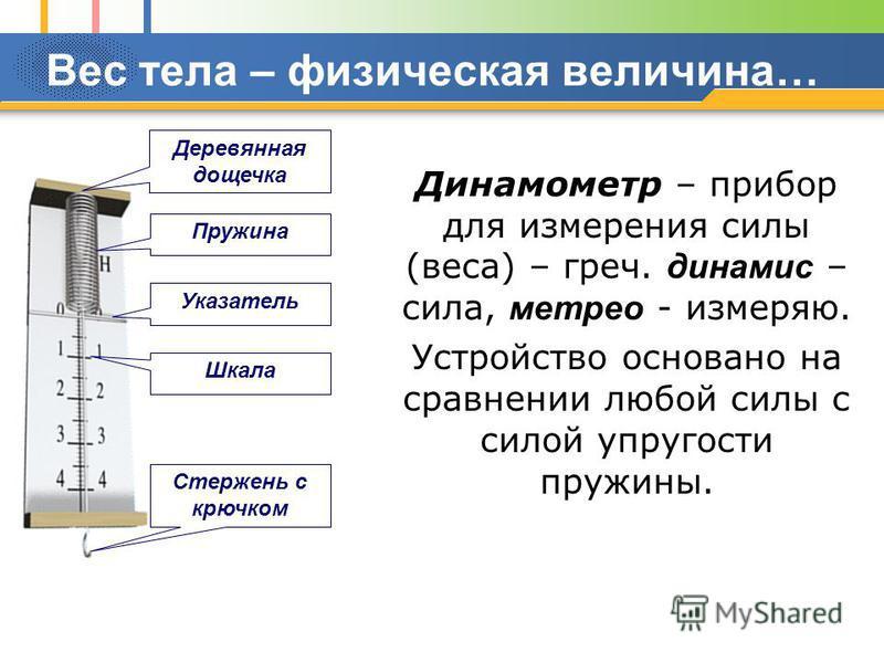 Вес тела – физическая величина… Динамометр – прибор для измерения силы (веса) – греч. динамит – сила, метро - измеряю. Устройство основано на сравнении любой силы с силой упругости пружины. Деревянная дощечка Пружина Шкала Стержень с крючком Указател