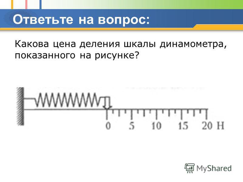 Ответьте на вопрос: Какова цена деления шкалы динамометра, показанного на рисунке?