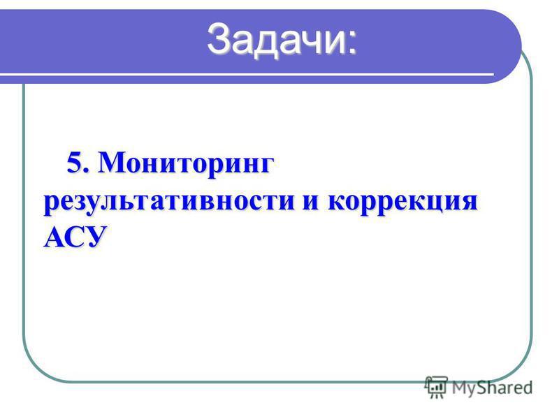 5. Мониторинг результативности и коррекция АСУ Задачи: