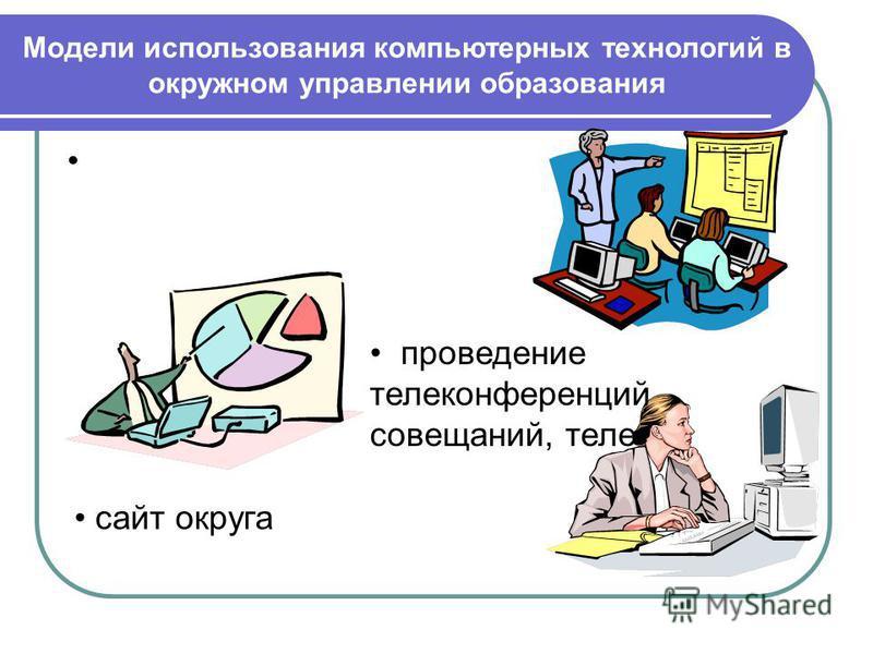 проведение телеконференций, совещаний, теле сайт округа Модели использования компьютерных технологий в окружном управлении образования