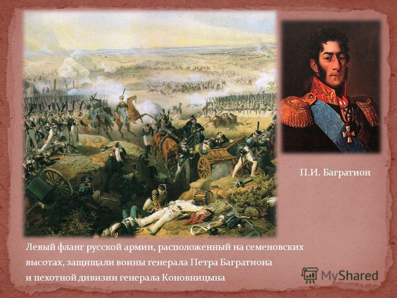 Левый фланг русской армии, расположенный на семеновских высотах, защищали воины генерала Петра Багратиона и пехотной дивизии генерала Коновницына П.И. Багратион