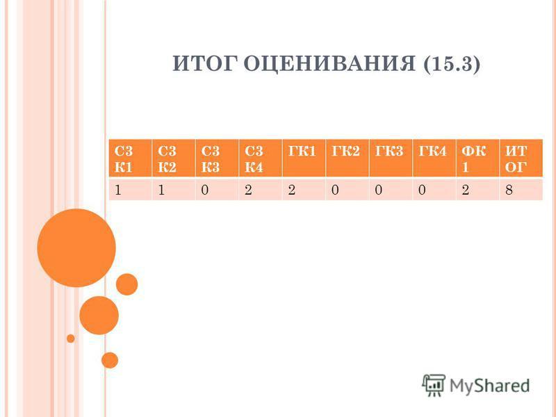 ИТОГ ОЦЕНИВАНИЯ (15.3) С3 К1 С3 К2 С3 К3 С3 К4 ГК1ГК2ГК3ГК4ФК 1 ИТ ОГ 1102200028