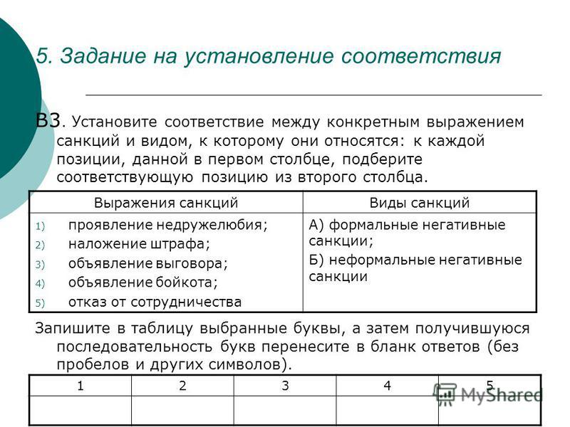 5. Задание на установление соответствия В3. Установите соответствие между конкретным выражением санкций и видом, к которому они относятся: к каждой позиции, данной в первом столбце, подберите соответствующую позицию из второго столбца. Запишите в таб