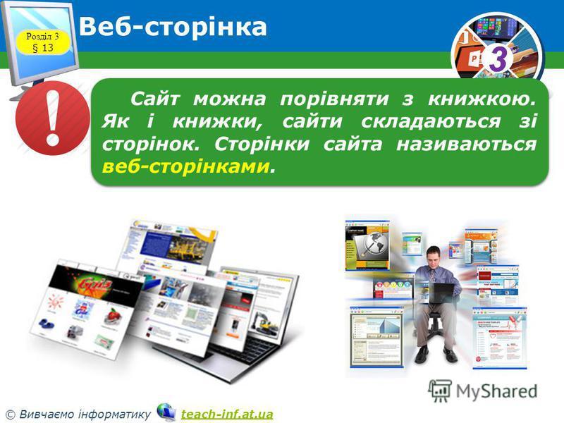33 © Вивчаємо інформатику teach-inf.at.uateach-inf.at.ua Веб-сторінка Розділ 3 § 13 Сайт можна порівняти з книжкою. Як і книжки, сайти складаються зі сторінок. Сторінки сайта називаються веб-сторінками.