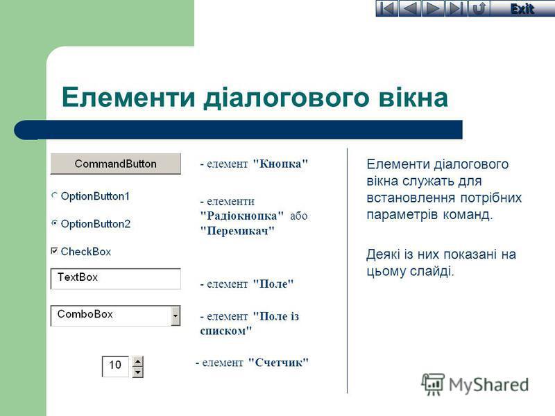 Exit Елементи діалогового вікна Елементи діалогового вікна служать для встановлення потрібних параметрів команд. Деякі із них показані на цьому слайді. - елемент