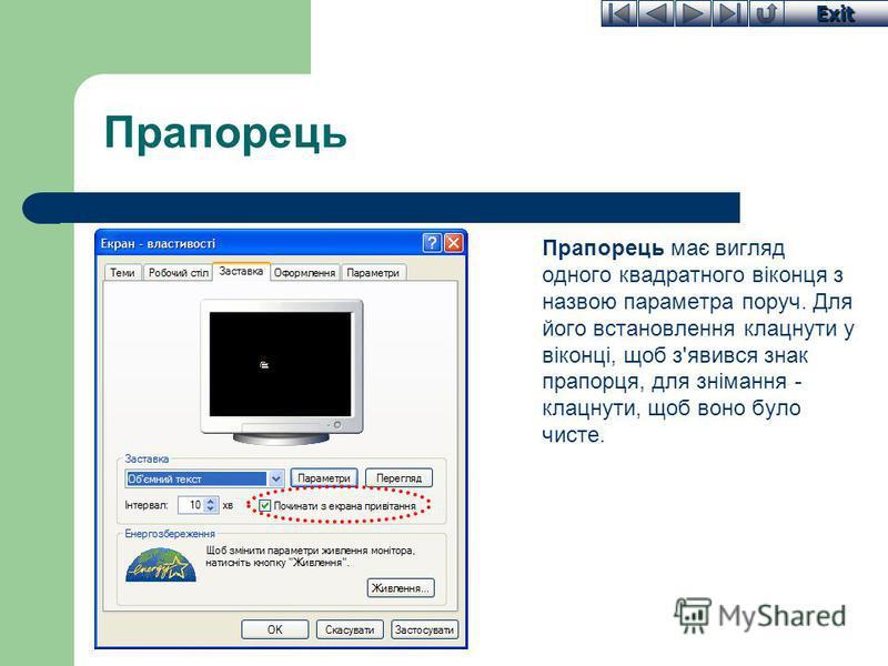 Exit Прапорець Прапорець має вигляд одного квадратного віконця з назвою параметра поруч. Для його встановлення клацнути у віконці, щоб з'явився знак прапорця, для знімання - клацнути, щоб воно було чисте.