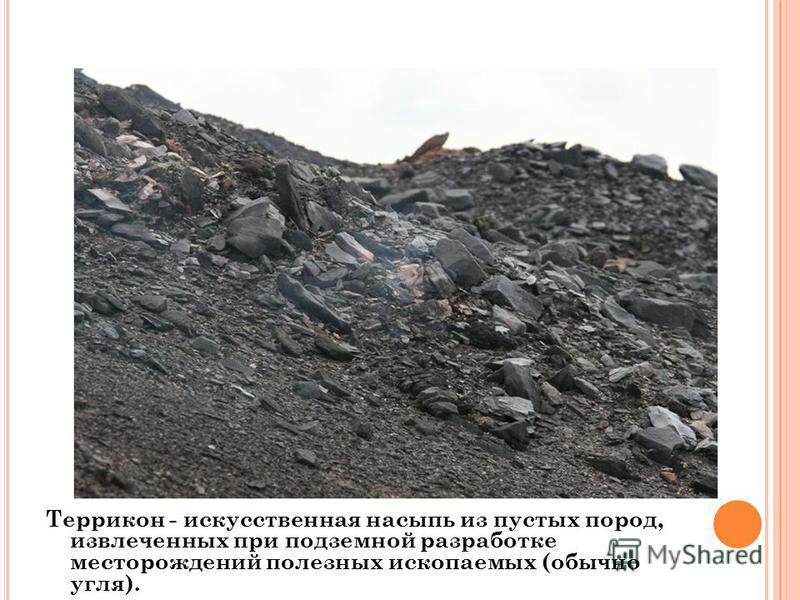 Террикон - искусственная насыпь из пустых пород, извлеченных при подземной разработке месторождений полезных ископаемых (обычно угля).
