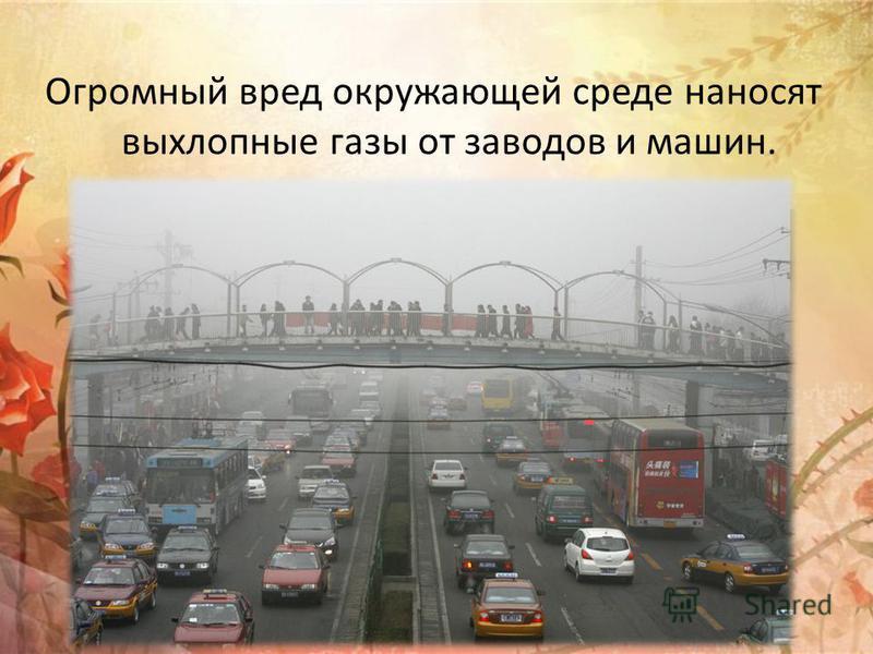 Огромный вред окружающей среде наносят выхлопные газы от заводов и машин.