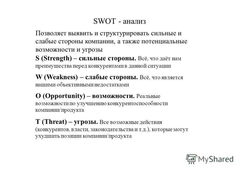 SWOT - анализ Позволяет выявить и структурировать сильные и слабые стороны компании, а также потенциальные возможности и угрозы S (Strength) – сильные стороны. Всё, что даёт нам преимущества перед конкурентами в данной ситуации W (Weakness) – слабые