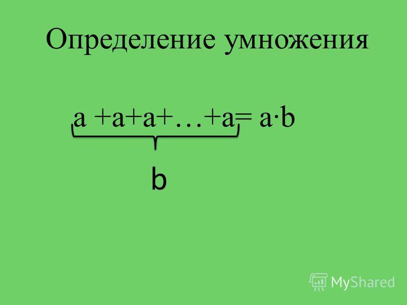 Определение умножения а +а+а+…+а= аb b