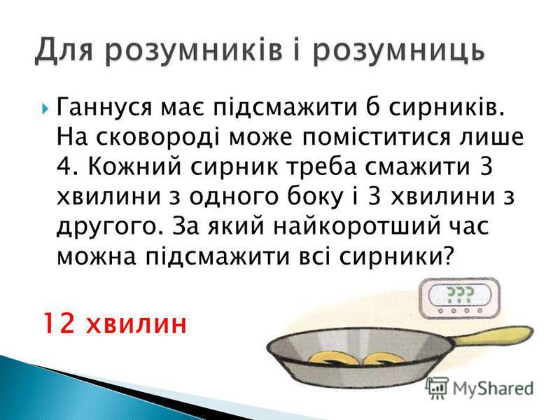 Ганнуся має підсмажити б сирників. На сковороді може поміститися лише 4. Кожний сирник треба смажити 3 хвилини з одного боку і 3 хвилини з другого. За який найкоротший час можна підсмажити всі сирники? 12 хвилин