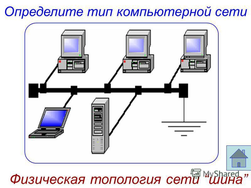 Определите тип компьютерной сети Физическая топология сети шина