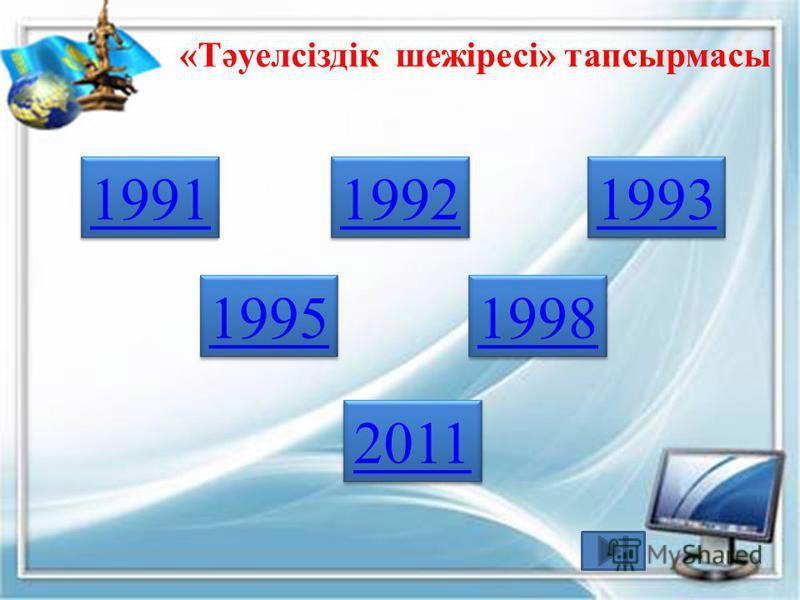 «Тәуелсіздік шежіресі» тапсырмасы 1991 1992 1993 1995 1998 2011