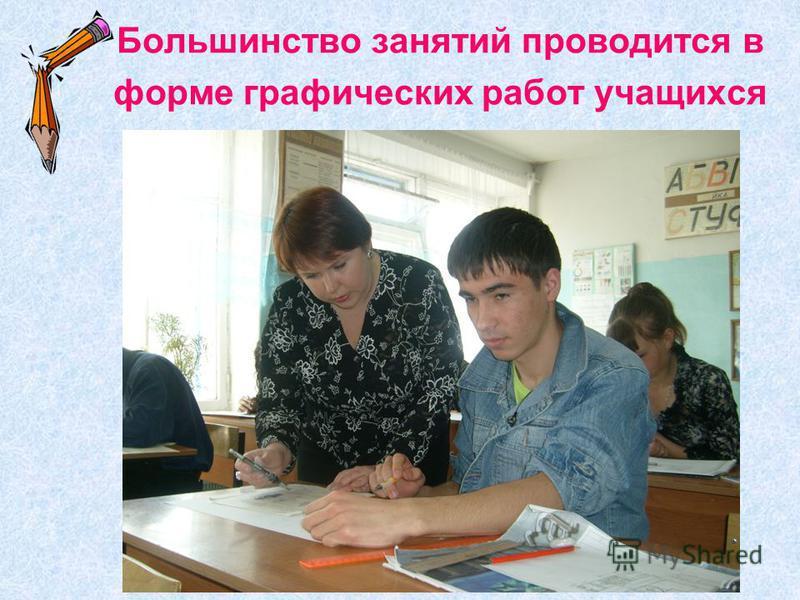 Большинство занятий проводится в форме графических работ учащихся